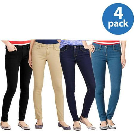 No Boundaries Juniors Classic Skinny Jeans 4pk Value Bundle