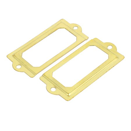 Unique BargainsOffice Library Iron Retro Style File Tag Label Holder Gold Tone 70mmx33mm 50pcs - image 2 of 3