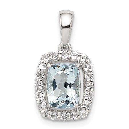 925 Sterling Silver White Topaz Blue Aquamarine Pendant Charm Necklace Gemstone For Women