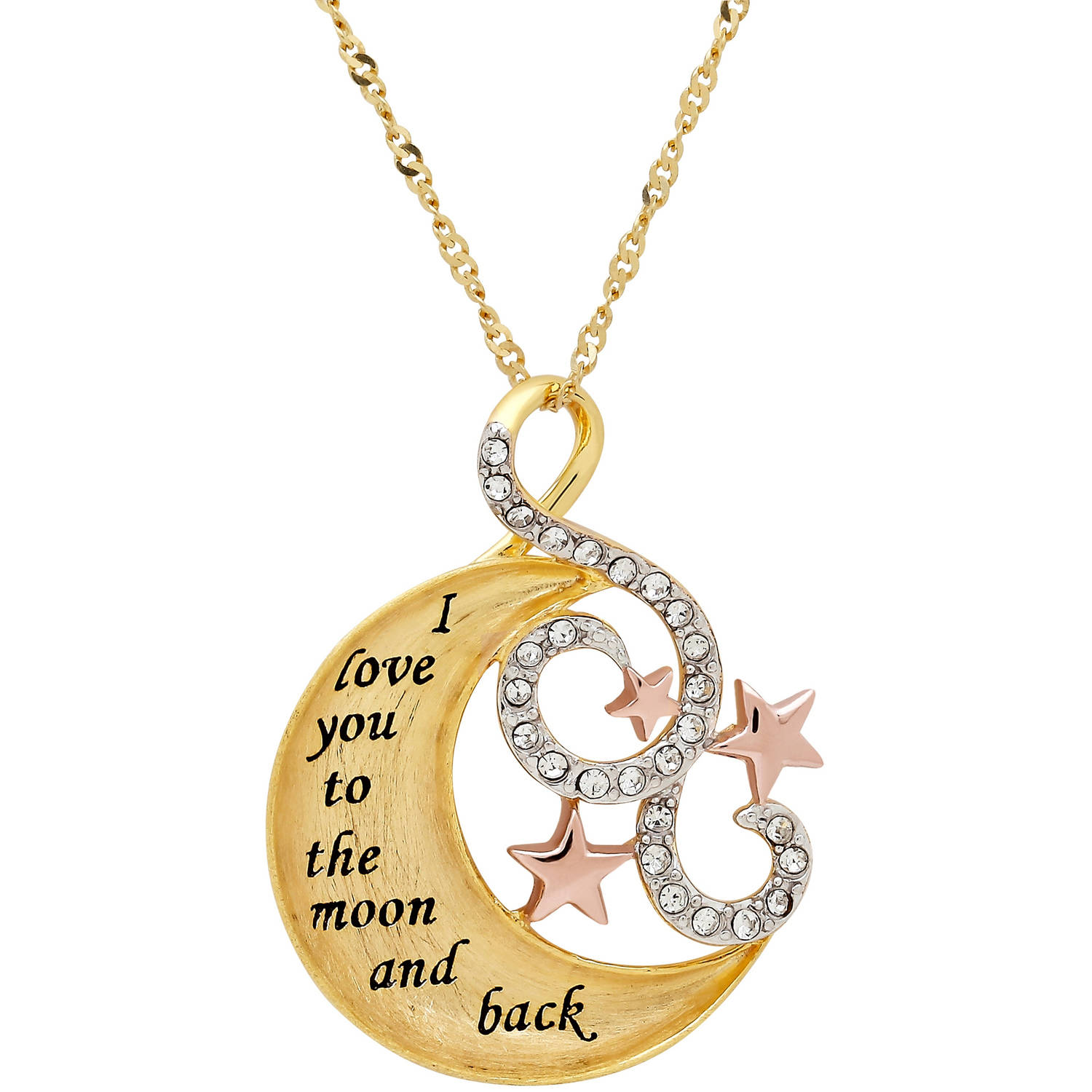 Sterling Silver and 18kt Gold Plate Concave Moon and Stars with Crystal Pendant, 18