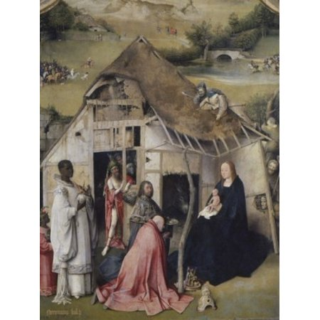 Adoration of the Magi  Hieronymus Bosch (c 1450-1516 Netherlandish)  Oil on Wood Panel  Bearsted Collection Upton House near Banbury Stretched Canvas - Hieronymus Bosch (24 x