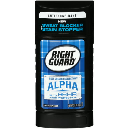 Right Guard Best Dressed Antiperspirant Deodorant Invisible Solid, Alpha, 2.6