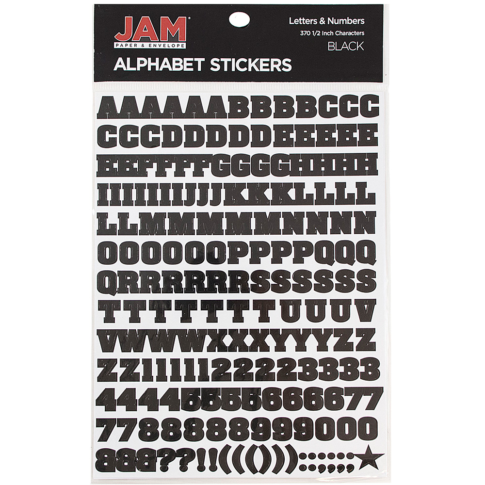 Jam Paper Self Adhesive Alphabet Letters Stickers Black Pack Of