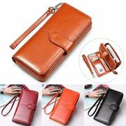 Oil Wax Cowhide Leather Women Wallet Phone Pocket Purse Wallet Female Card Holder Lady Clutch Carteira Feminina