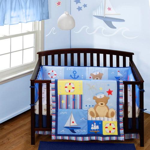 Baby Boom Anchors Away 4-piece Crib Bedding Set