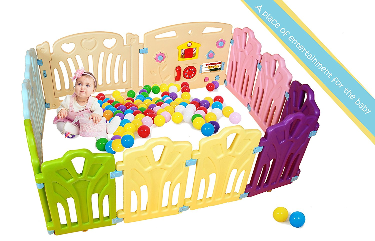 Baby Playpen Kids Activity Centre Safety Play Pen Home Indoor Outdoor New Pen (multicolour, Classic set 12... by PENSON %26 CO.
