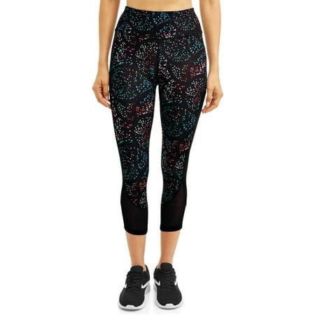 Polka Dot Ruffle Legging - Women's Active Capri Legging with Powermesh Hem