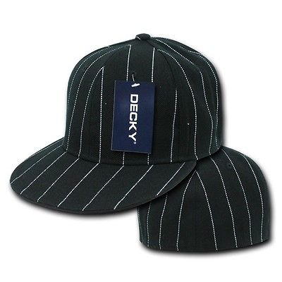 Black Pin Stripe Pinstripe Flat Bill Fitted - Hat / Cap _6 (Pinstripe Striped Cap)