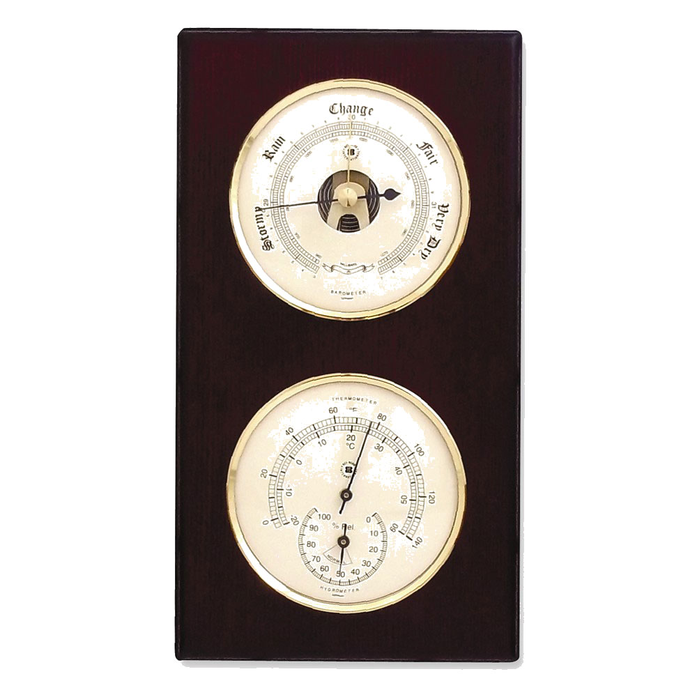Barometer & Thermometer With Hygrometer On Mahogany Wood by Bey Berk
