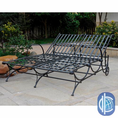 International Caravan Mandalay Iron Multi-Position Double Patio Chaise Lounge