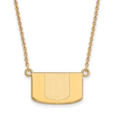 14K Yellow Gold Logoart Official Licensed Collegiate 18In University Of Miami  Um  Small Pendant W Necklace