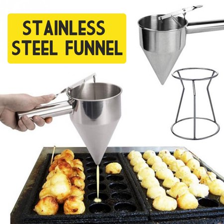 Multifunction Stainless Steel Funnel Octopus Fish Balls Tools Conical Funnel Tool Pancake Batter Dispenser Bakeware Maker with Rack for Making (Conical Bell)