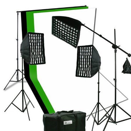 ePhoto 2400 Watt Digital Video Continuous Softbox Boom Hair Lighting Kit with 3pcs Black, White and Chromakey Green 10' x 10' Muslin Background Stand