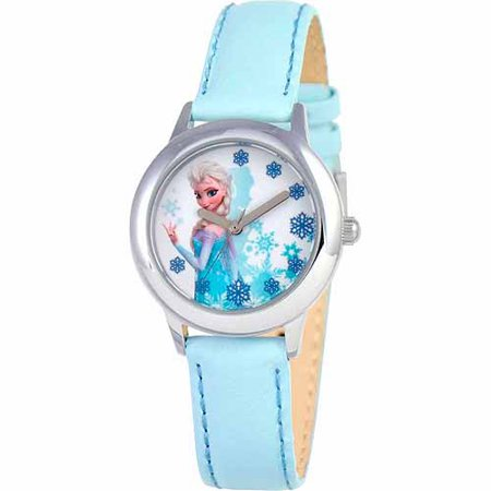 Snow Queen Elsa Girls Stainless Steel Watch, Light Blue Strap