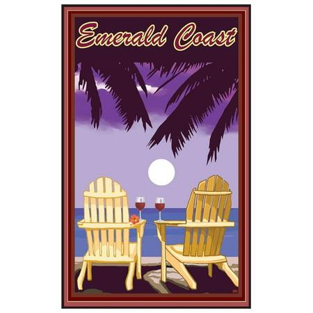 Emerald Coast, Florida Adirondack Chairs Palms Red Wine Giclee Art Print Poster by Joanne Kollman (12