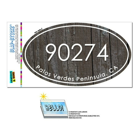 90274 Palos Verdes Peninsula, CA - Wood Design - Oval Zip Code (Best Hiking Trails In Palos Verdes Ca)