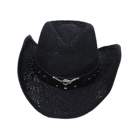 Men s   Women s Western Straw Cowboy Cowgirl Hat PU Leather Band Black -  Walmart.com de39279c8ee