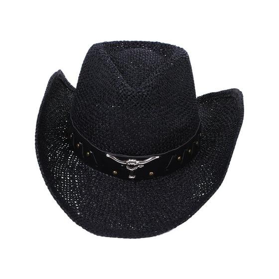 Unisex Cowgirl Cowboy Western Bull Style Straw Hat Cap - Walmart.com 7ffa3f829a12