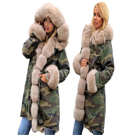 Womens Faux Fur Winter Jacket Parka Hooded Coat Fishtail Long Sleeves
