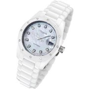 Women's White Ceramic Watch with 23 Genuine Diamonds and Mother of Pearl Dial