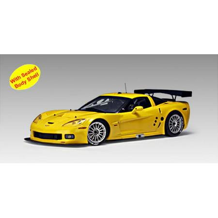 Chevrolet Corvette C6R Plain Body Version Yellow 1 of 3000 Made 1/18 Diecast Model Car by Autoart