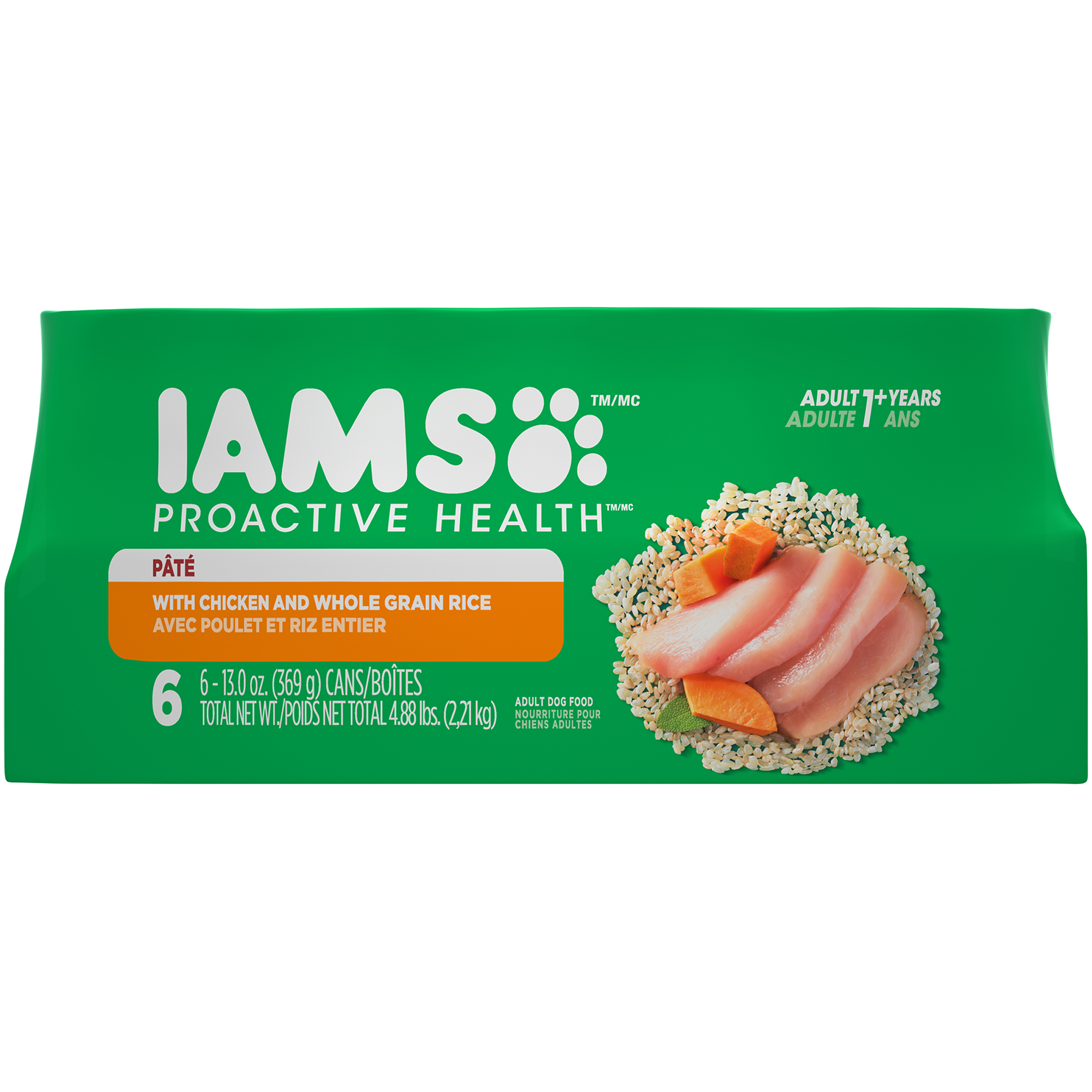 (3 Pack) IAMS PROACTIVE HEALTH Adult Multipack With Chicken and Whole Grain Rice Pate Wet Dog Food 13.0 Ounces (Pack of 6)