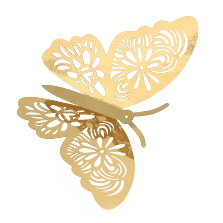 12pcs/set Vivid 3D Butterfly Wall Stickers Removable Mural Stickers DIY Art Wall Decals Decor with Glue for Bedroom Wedding Party--Gold - image 5 de 7