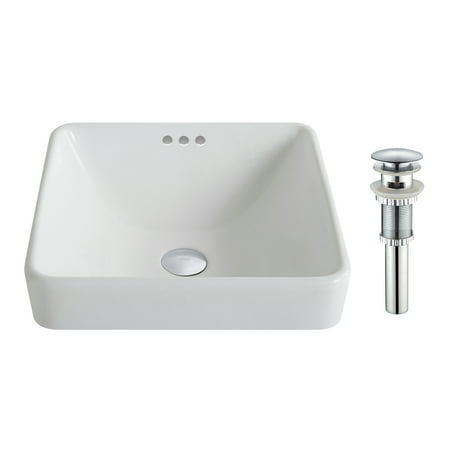 KRAUS Elavo™ Series Square Ceramic Semi-Recessed Bathroom Sink in White with Overflow and Pop-Up Drain in Chrome Semi Vitreous China