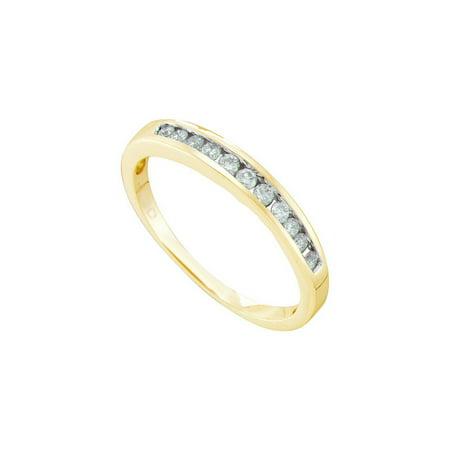 14K Yellow Gold 0.24ctw Shiny Channel Set Diamond Single Row Fashion Band Ring