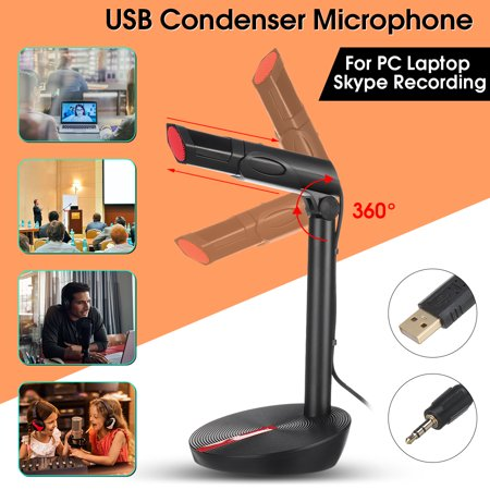 Desktop Adjustable Condenser Microphone Karaoke KTV Microphone Live Stream for PC Laptop Computer (3.5mm/ USB Interface)
