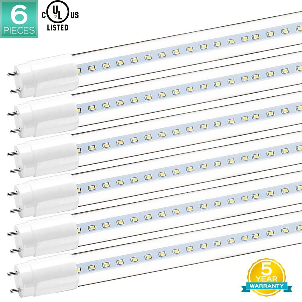 Luxrite T8 4FT LED Light Tube, 32W Replacement, 3000K (Soft White), 1900 Lumens, T8 LED Replacement, 18W 4FT LED Bulbs, G13 Base, Clear Cover, UL Listed, Pack of 6