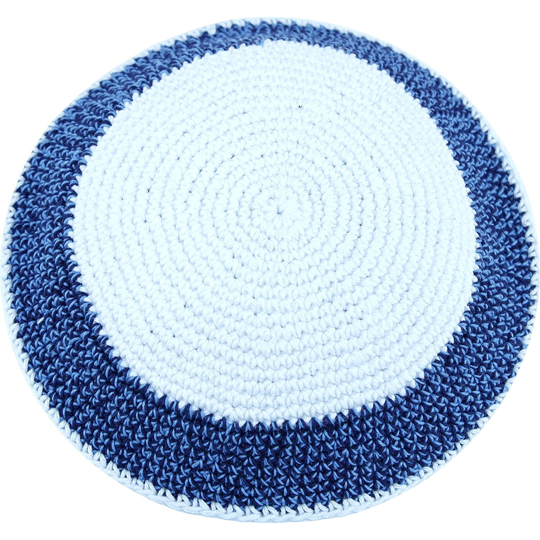 White / Sky and Dark Blue 17cm DMC 100% Knitted Cotton Kippah Yarmulke SkullCap