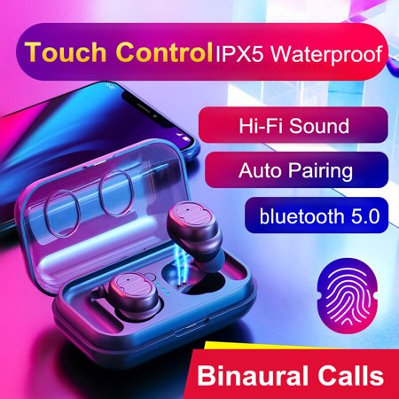 Wireless Earbuds, Hands-free Calling Sweatproof In-Ear Headset Earphone with Charging Case for iPhone/Samsung & Smart Phones, Touch Control ()