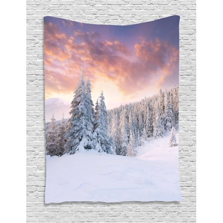 Winter Tapestry  Sunrise In Winter Landscape Snowy Fields Frozen Pine Trees Northern Hemisphere  Wall Hanging For Bedroom Living Room Dorm Decor  40W X 60L Inches  Coral White Blue  By Ambesonne