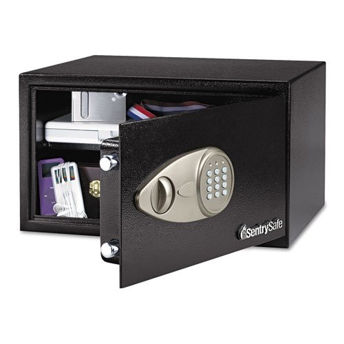 "Sentry Safe Security Safe - 0.70 Ft - Electronic Lock - 2 X Live-locking Bolt[s] - 7.1"" X 16.9"" X 14.6"" - Black (X105_40)"