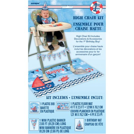 Nautical Boys First Birthday High Chair Decorating Kit, 4pc (Boy 1st Birthday Party Supplies)