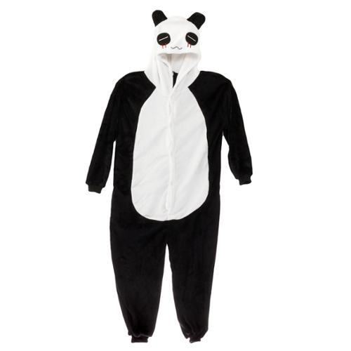 black amp white plush panda one piece pajamas footie