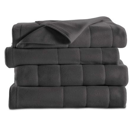 Sunbeam Heated Electric Channeled Fleece Blanket, Twin, Slate