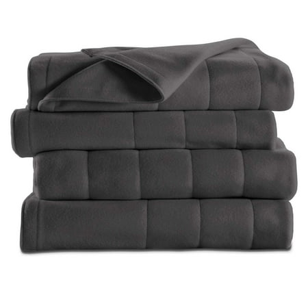 Sunbeam Heated Electric Fleece Blanket with 10 heat settings, Twin, Slate