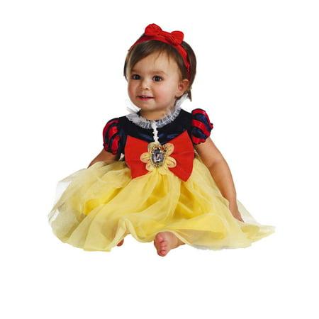 Disney Infant Girls Snow White Costume Baby Dress & Headband (Baby Girl Viking Costume)
