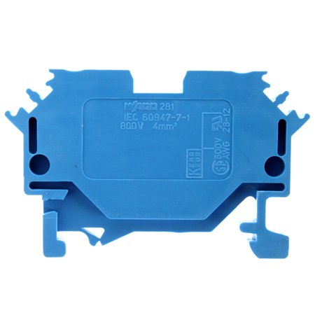 Wago 281-604 Din Rail Mounted Two-Conductor Through Cage Clamp Terminal  Block