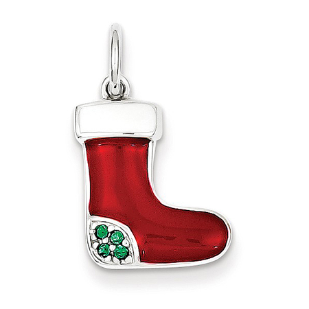 - 925 Sterling Silver Green Crystal and Red and White Enamel Christmas Stocking Charm Pendant