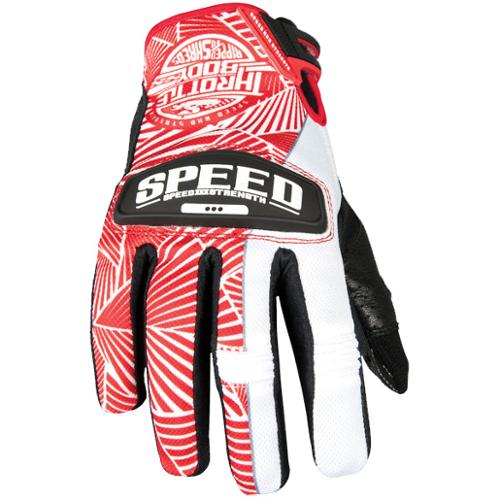 Speed & Strength Throttle Body Womens Leather Mesh Gloves Red/White XL