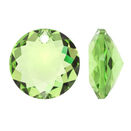 Swarovski Crystal, #6430 Round Classic Cut Pendants 14mm, 2 Pieces, Peridot