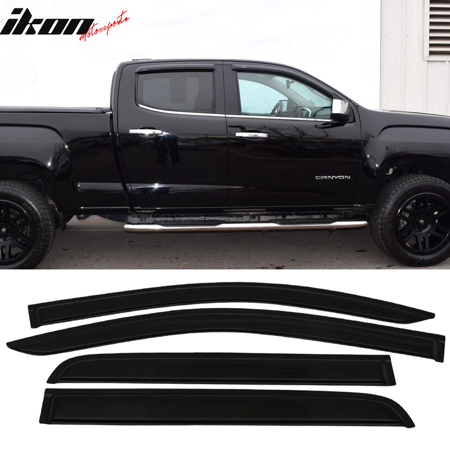 Fits 15-18 Chevy Colorado GMC Canyon Crew Cab Acrylic Window Visors 4Pc Set (Gmc Carbon)