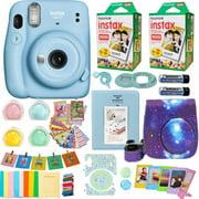 Fujifilm Instax Mini 11 Camera Sky Blue + Accessories kit for Fujifilm Instax Mini 11 Camera Includes Instant camera + Fuji Instax Film (40 Film) +  Case Strap+ Frames + Selfie lens + Album And More