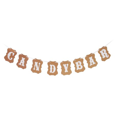 Candy Bar Bunting Banner, Kraft Paper Cardboard Garland, Party Banners for Wedding Baby Shower Birthday Decoration](Cardboard For Sale)