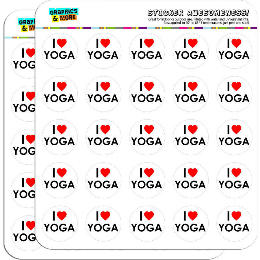 "I Love Heart Yoga 50 1"" Planner Calendar Scrapbooking Crafting Stickers"