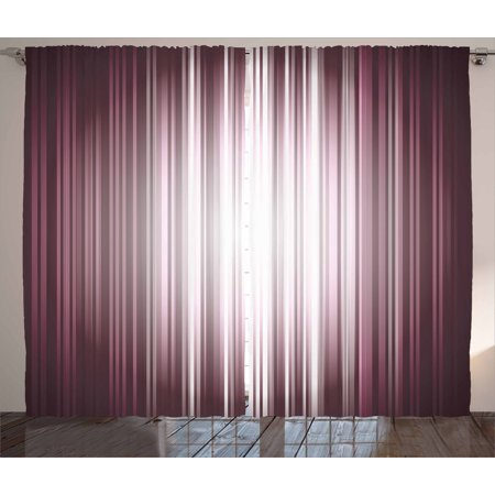 - Purple Curtains 2 Panels Set, Futuristic Digital Style Artistic Stripes and Rays in Unusual Abstraction, Window Drapes for Living Room Bedroom, 108W X 63L Inches, Plum Mauve Silver, by Ambesonne