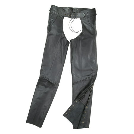 Fulmer Unisex Leather Motorcycle Chaps w/ Stretch Panel Mens Womens Ladies Biker (Womens Half Chap)